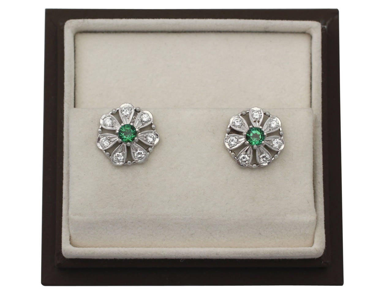 0.80 ct Tourmaline and 0.80 ct Diamond, 14k White Gold Earrings 8