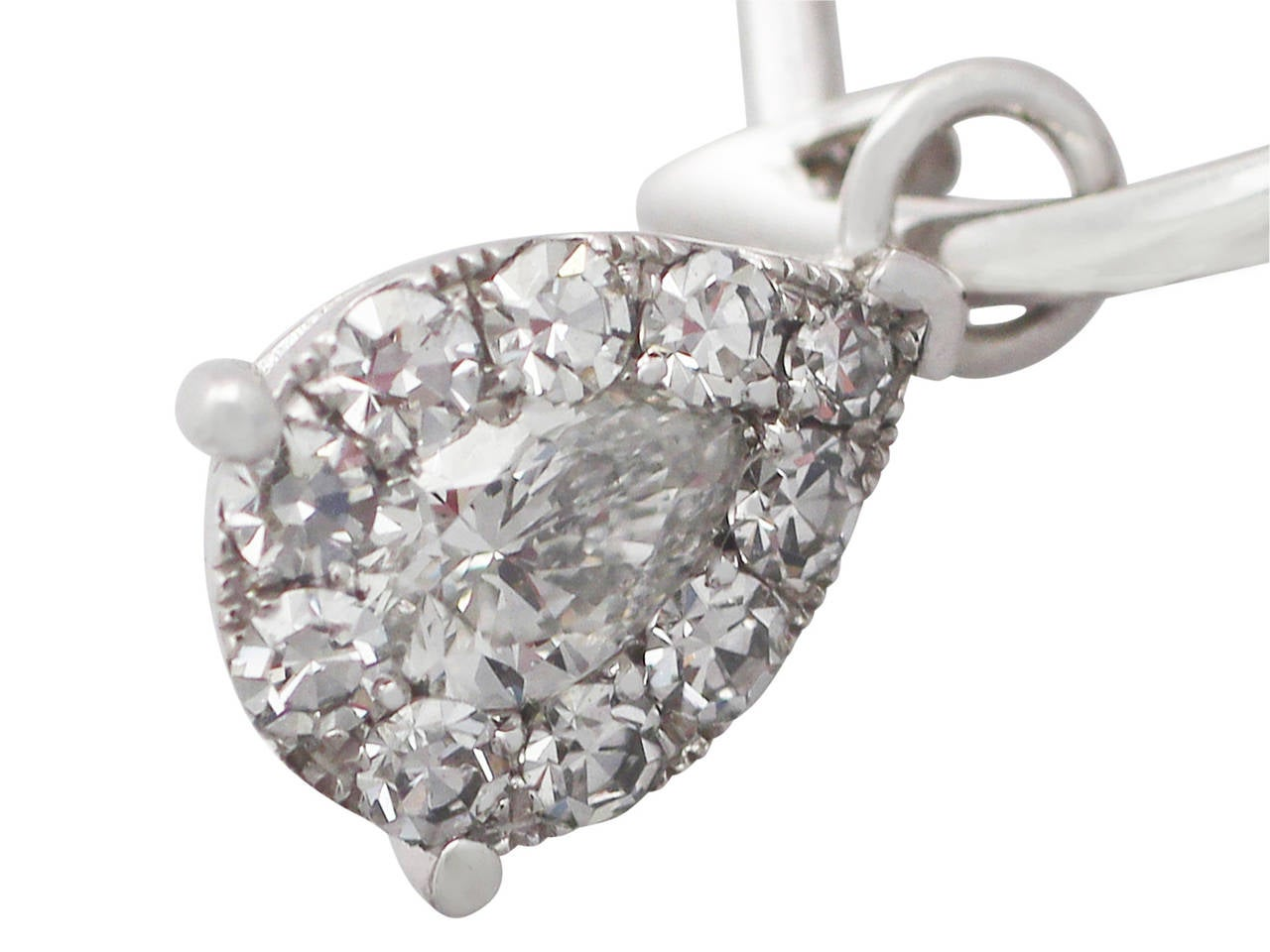 0.70 ct Diamond and White Gold Drop Earrings 3