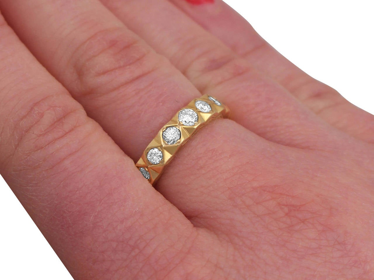 0.75 Carat Diamond and 18 Karat Yellow Gold Half Eternity Ring ...