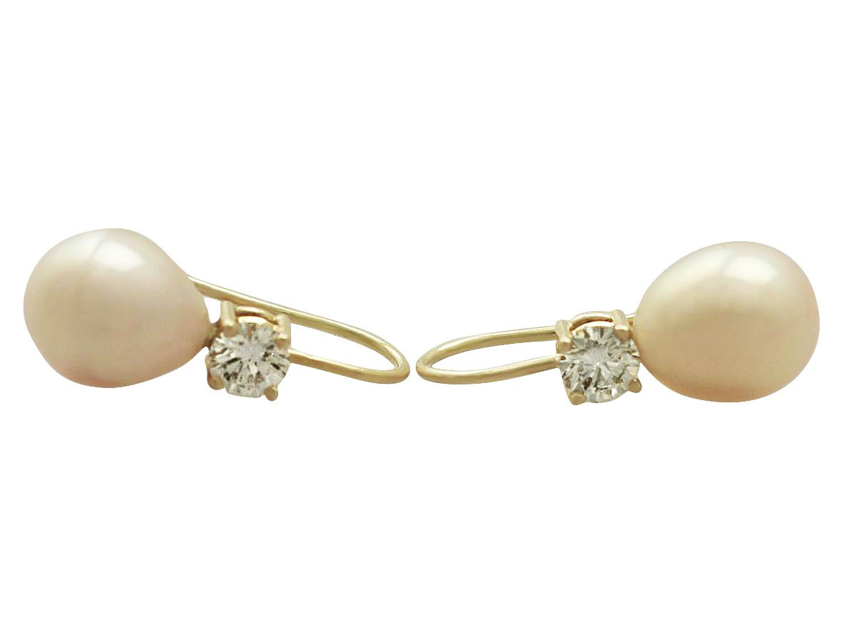 Pink Pearl and 0.60 ct Diamond 18k Yellow Gold Drop Earrings 3