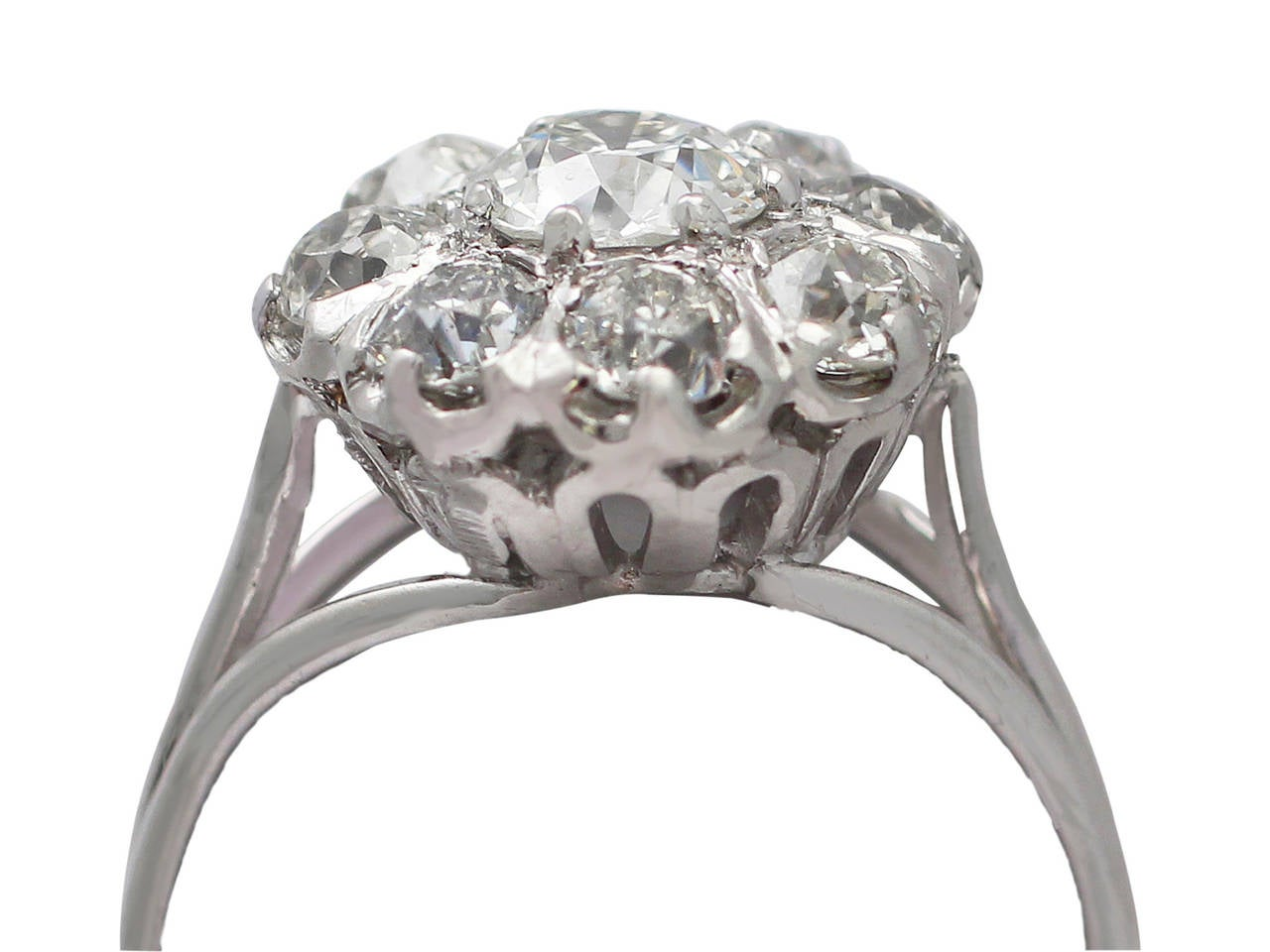 1 38ct and 18k white gold cluster ring antique