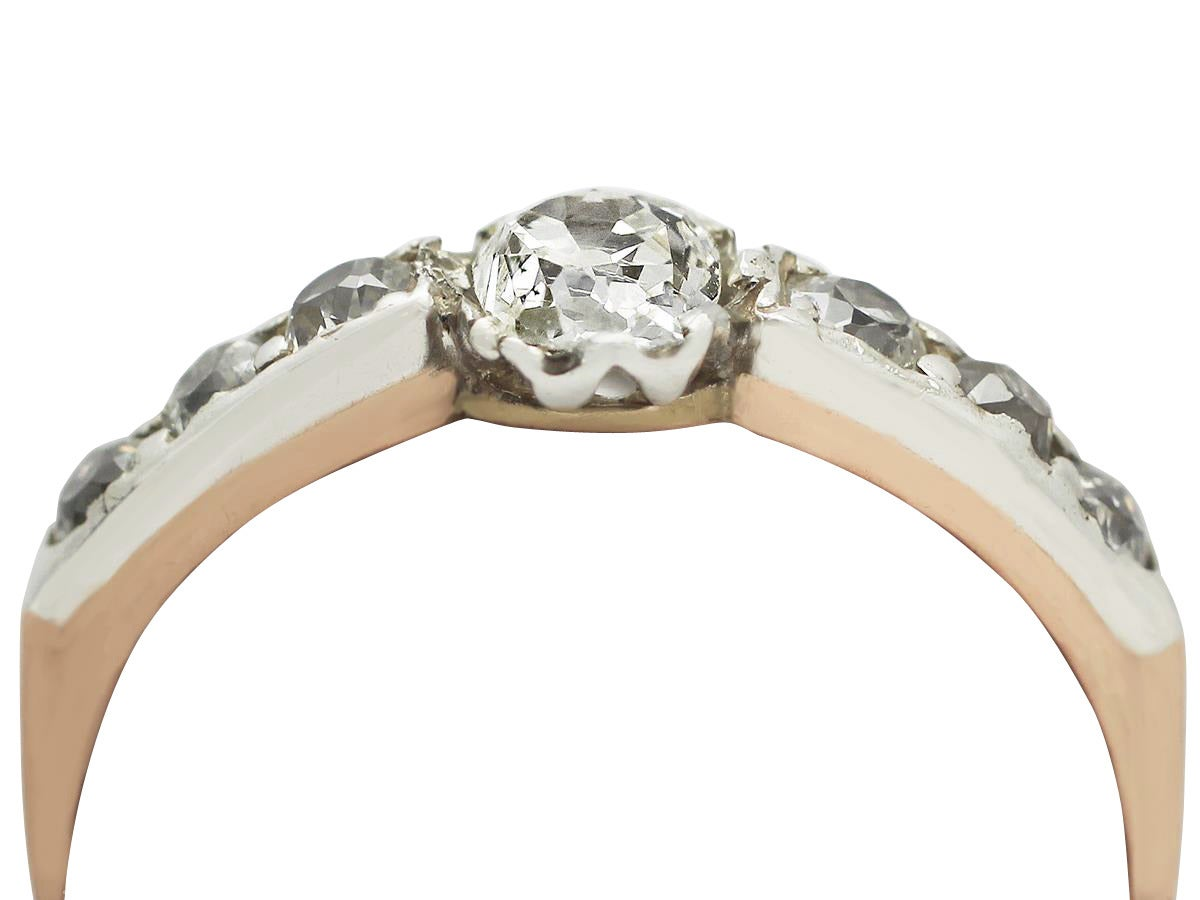 0 41ct Diamond And 18k Rose Gold Silver Set Solitaire