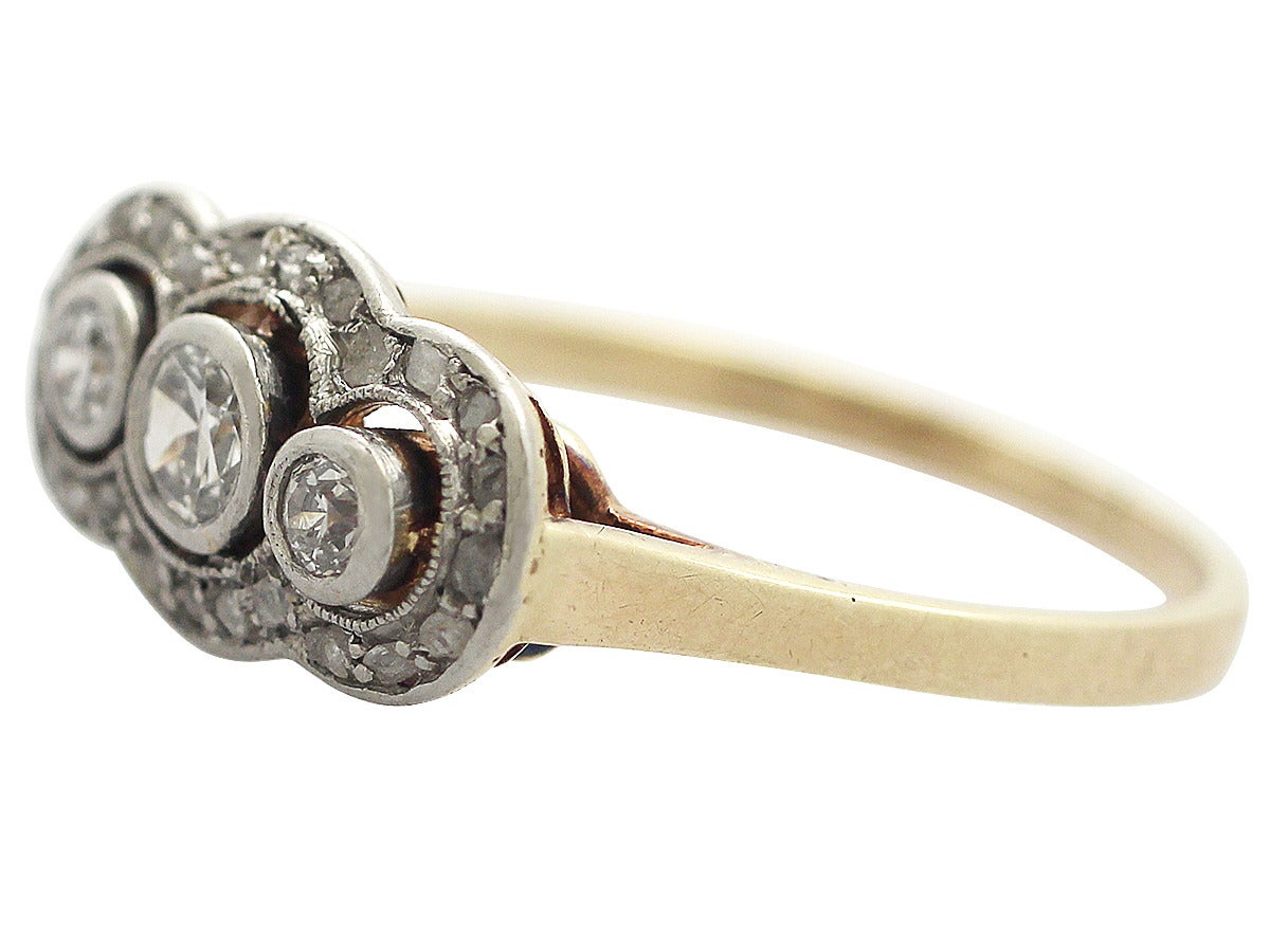 1910s Antique Diamond Gold platinum Cocktail Ring For Sale at 1stdibs