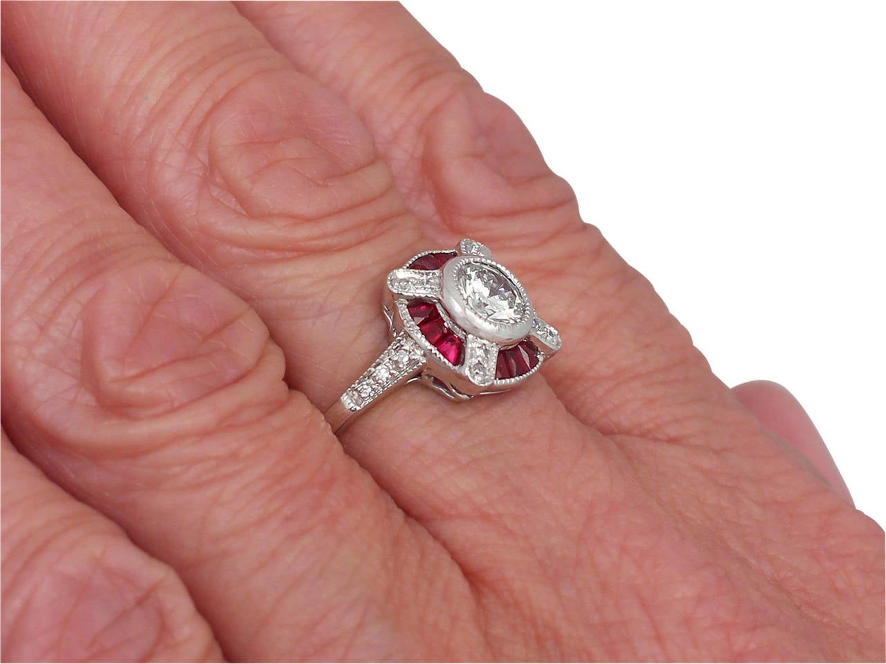 1940s Ruby and Diamond Platinum Cocktail Ring For Sale 2