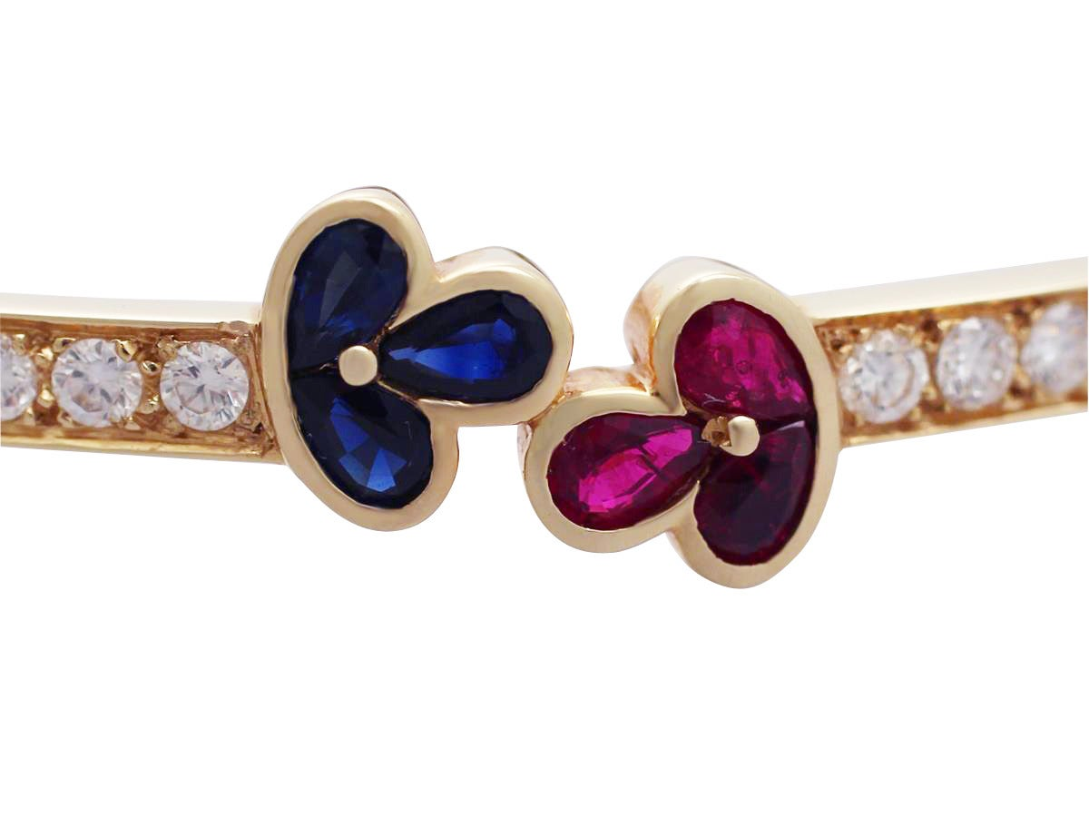 1.05Ct Ruby, 0.98Ct Sapphire & 2.16Ct Diamond, 18k Yellow Gold Bangle - Vintage For Sale 1