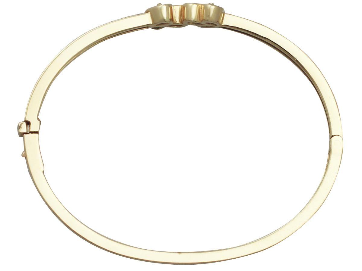 1.05Ct Ruby, 0.98Ct Sapphire & 2.16Ct Diamond, 18k Yellow Gold Bangle - Vintage 6