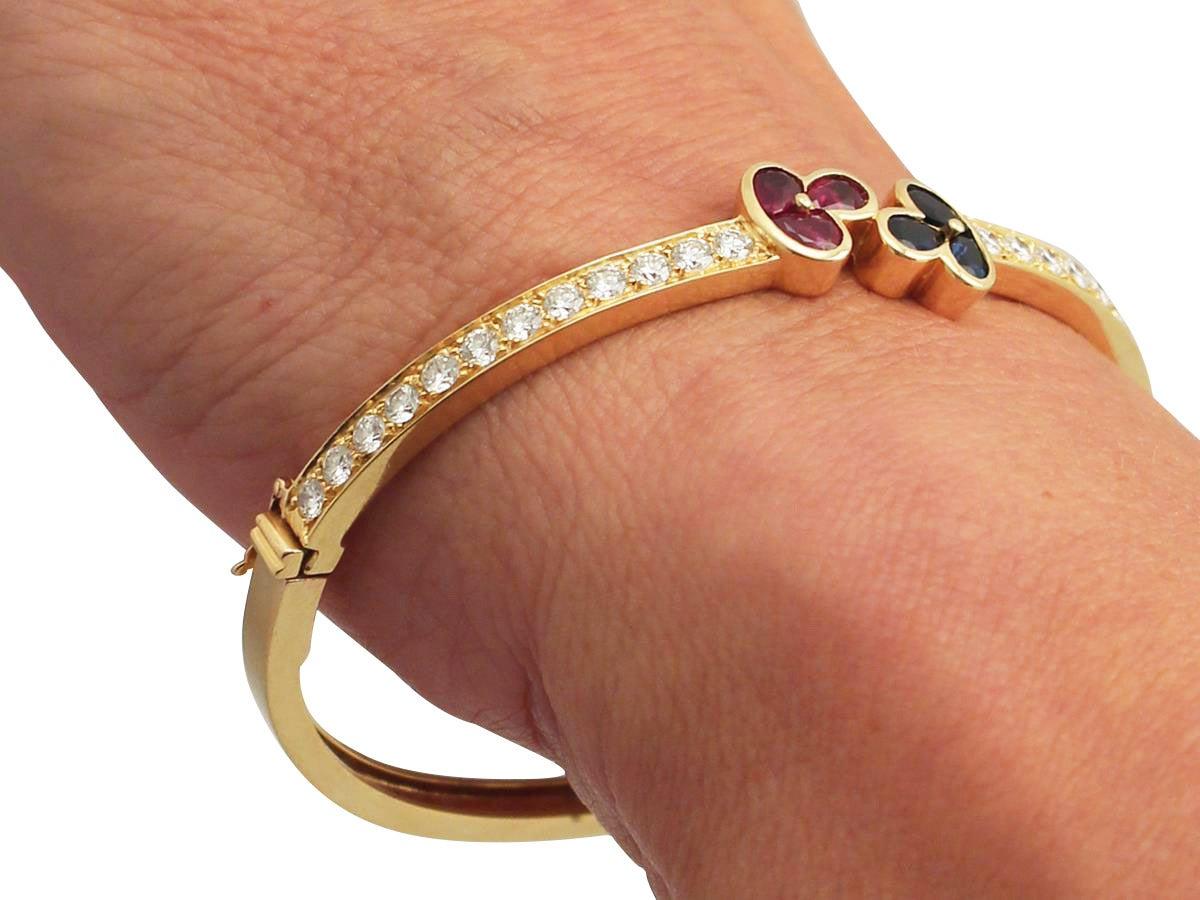 1.05Ct Ruby, 0.98Ct Sapphire & 2.16Ct Diamond, 18k Yellow Gold Bangle - Vintage 9