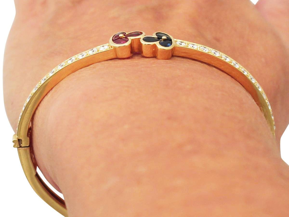1.05Ct Ruby, 0.98Ct Sapphire & 2.16Ct Diamond, 18k Yellow Gold Bangle - Vintage 10