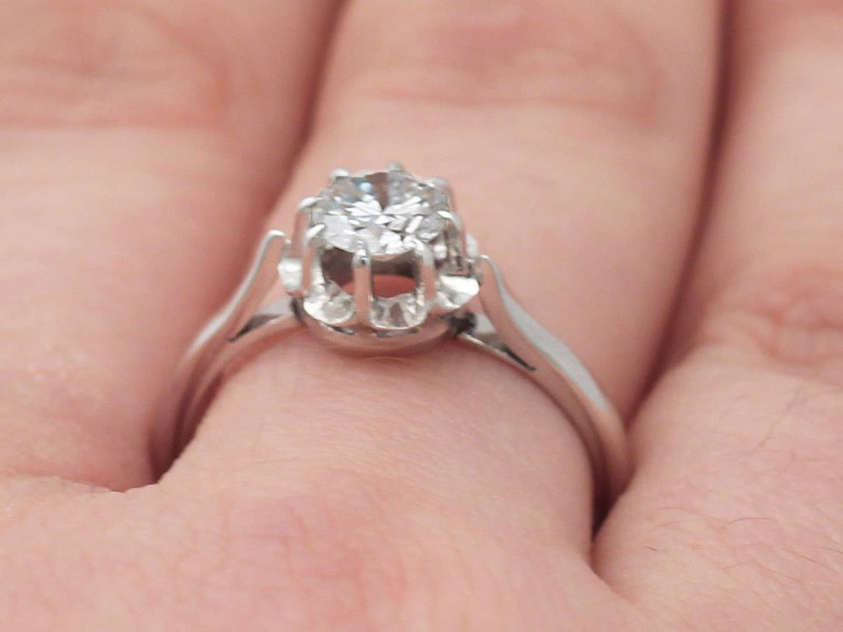 0.55Ct Diamond and 18k White Gold, Platinum Set Solitaire Ring ...