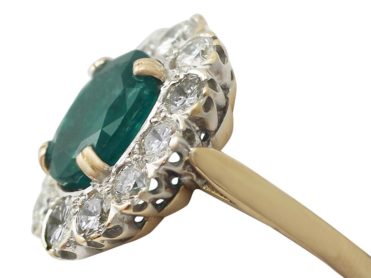 290ct Emerald & 238ct Diamond, 18k Yellow Gold Cluster Ring  Vintage  French