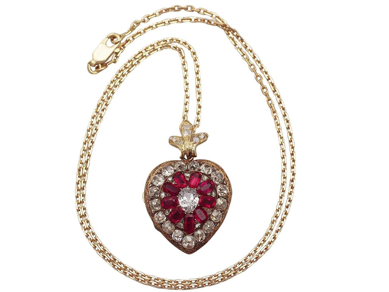 1880s Synthetic Ruby 4.55 Carats Diamonds Gold Pendant Locket 2
