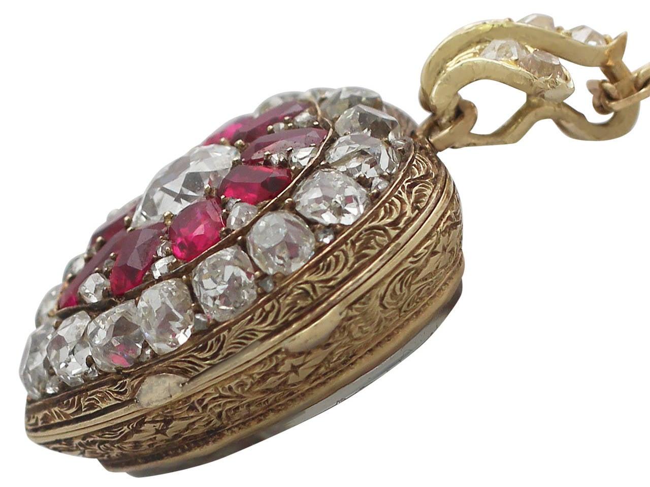 1880s Synthetic Ruby 4.55 Carats Diamonds Gold Pendant Locket 3