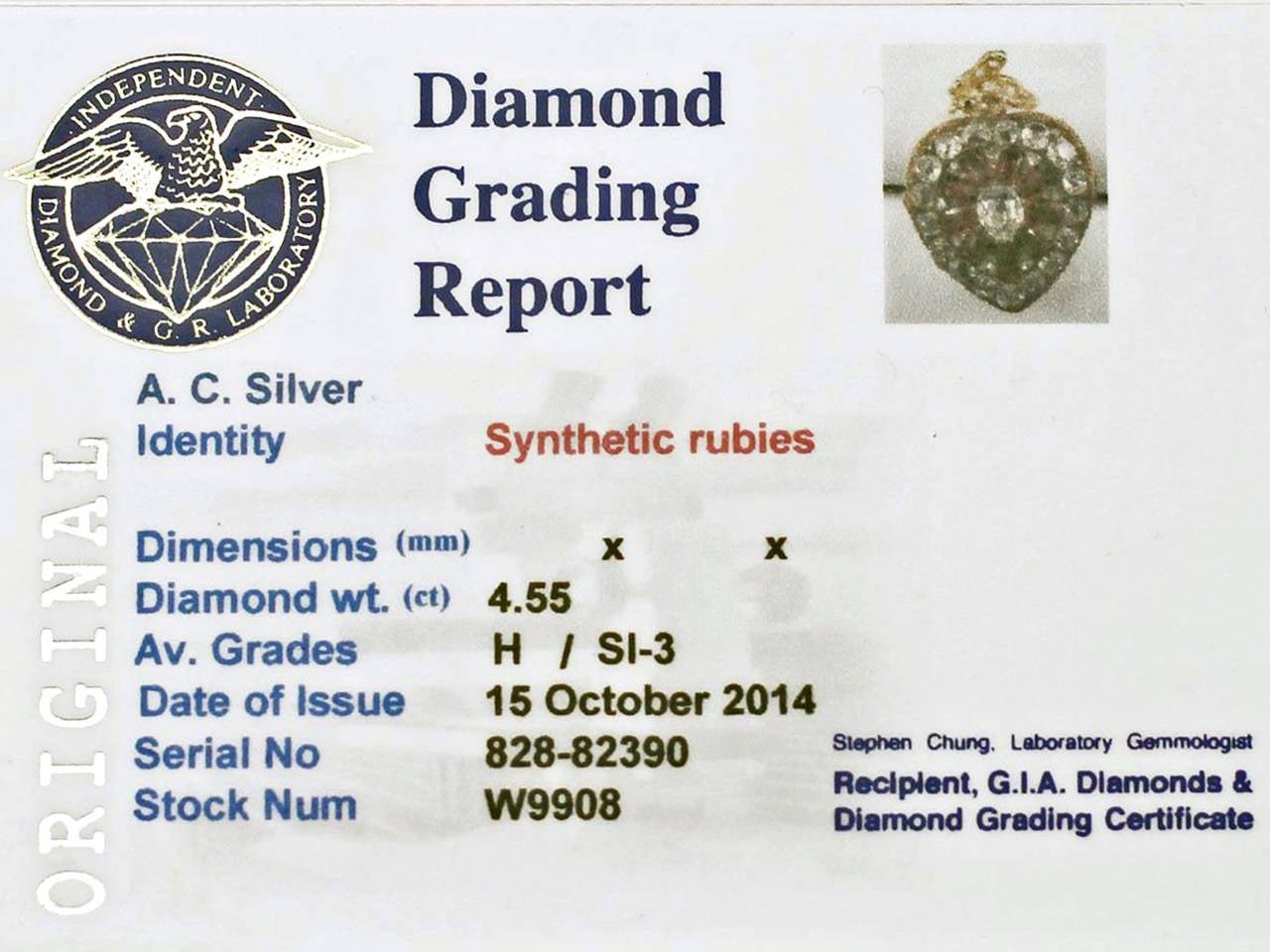 1880s Synthetic Ruby 4.55 Carats Diamonds Gold Pendant Locket 7
