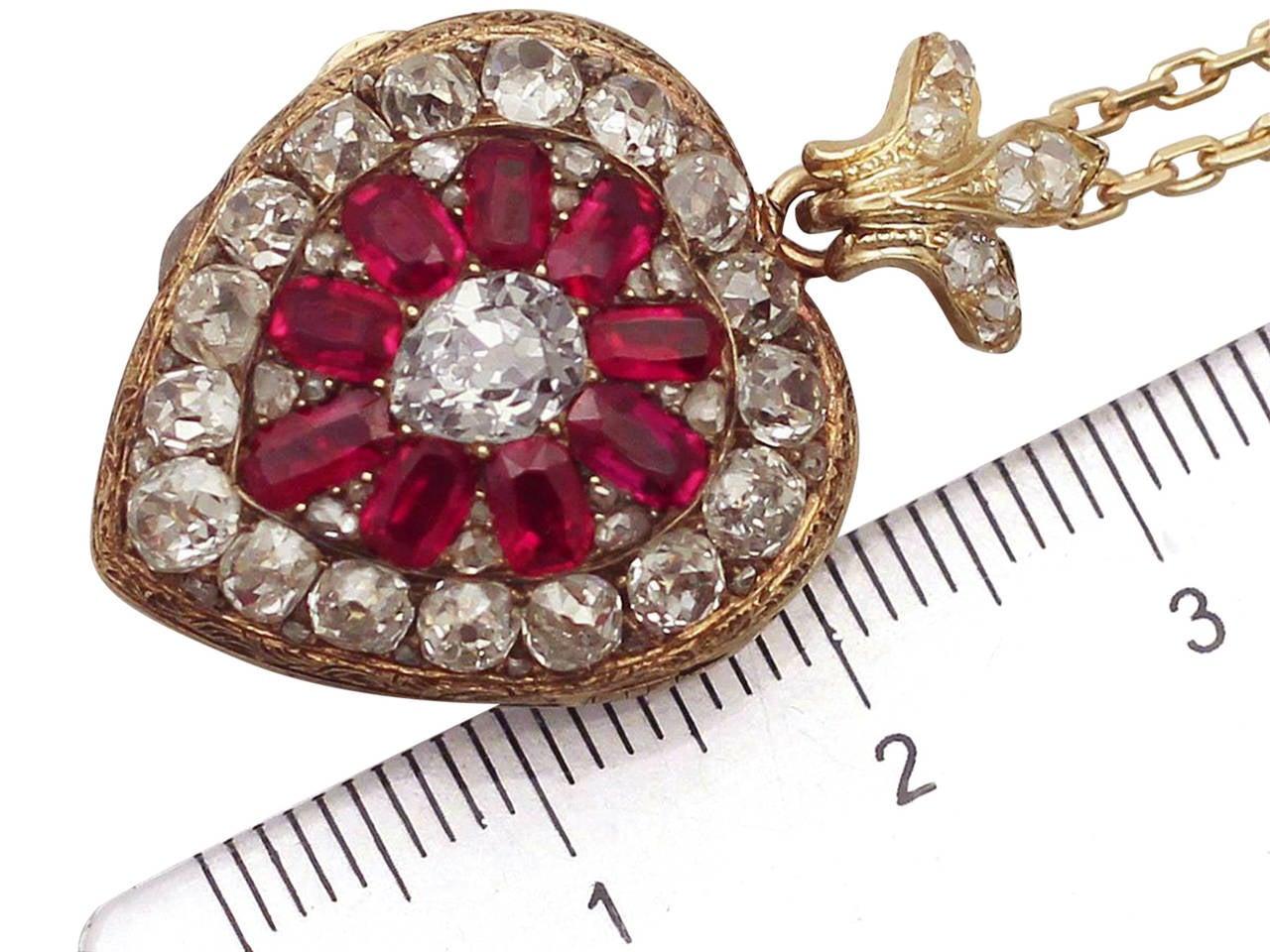 1880s Synthetic Ruby 4.55 Carats Diamonds Gold Pendant Locket 5