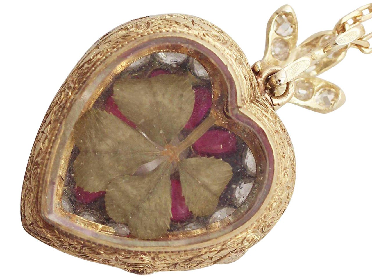 1880s Synthetic Ruby 4.55 Carats Diamonds Gold Pendant Locket 6