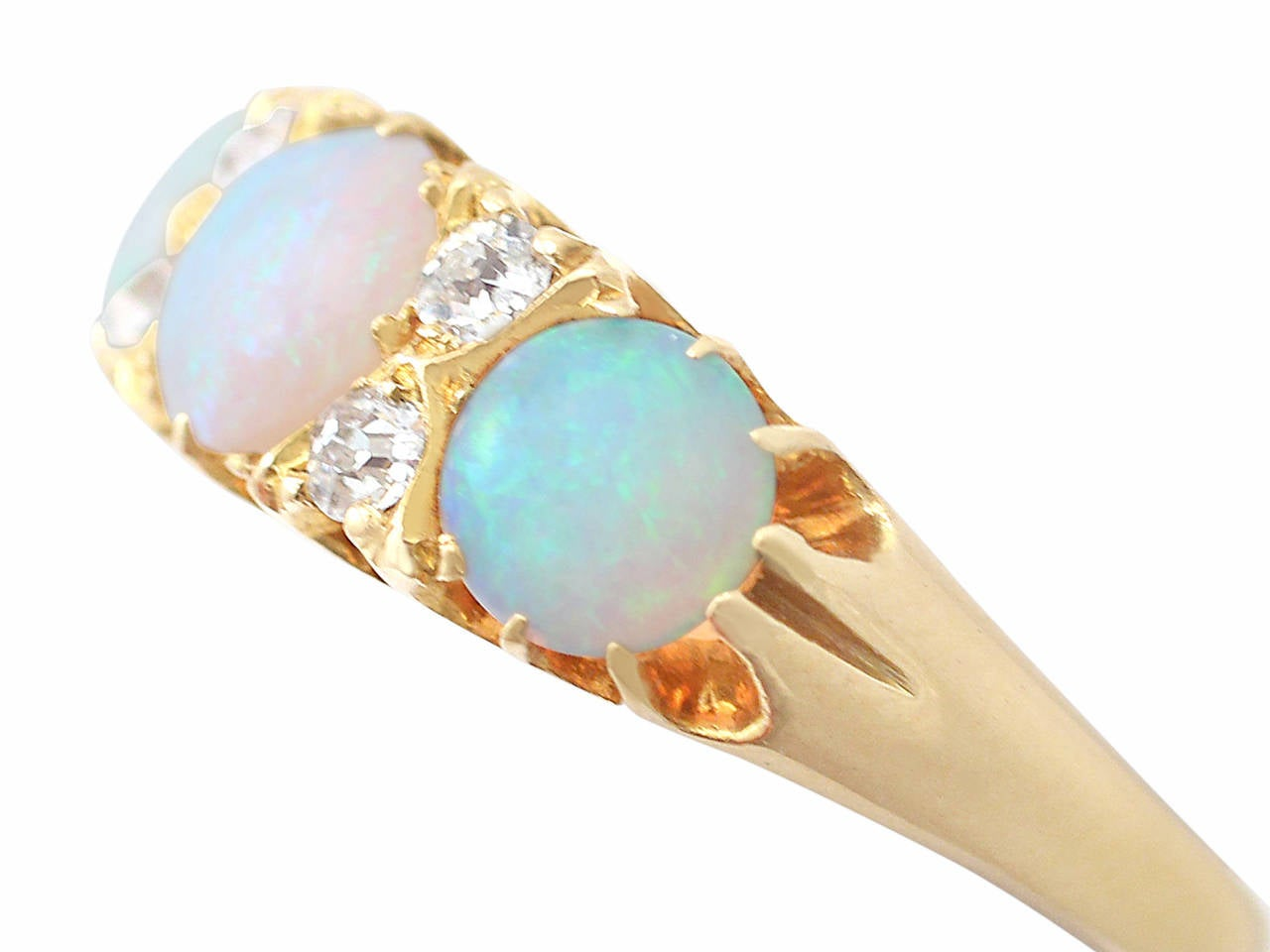 Antique Victorian Opal 0.20 Carat Diamond Gold Dress Ring In Excellent Condition For Sale In Jesmond, GB