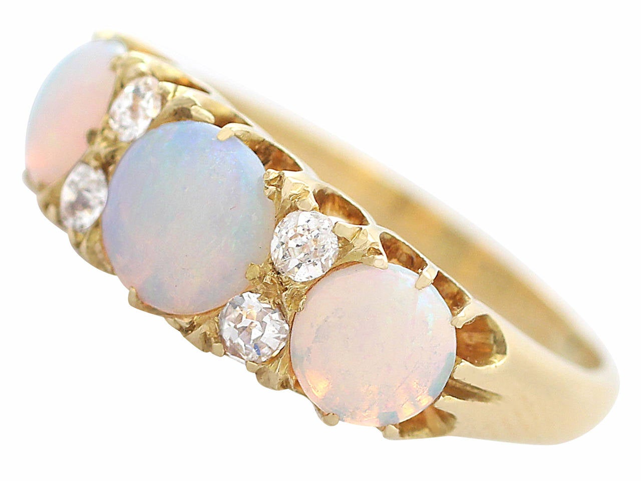 Women's Antique Victorian Opal 0.20 Carat Diamond Gold Dress Ring For Sale