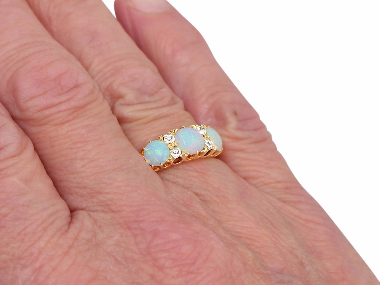 Antique Victorian Opal 0.20 Carat Diamond Gold Dress Ring For Sale 4