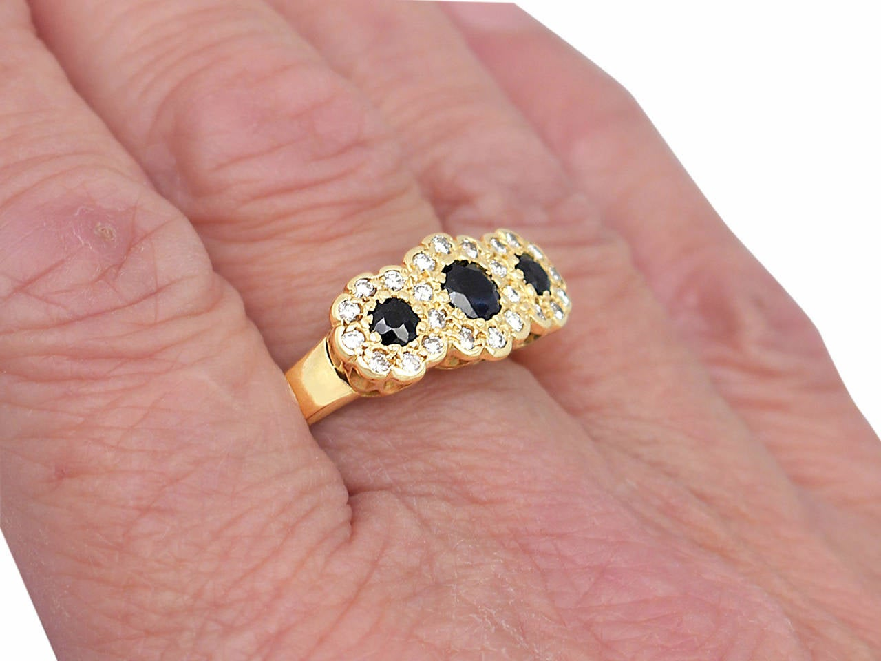 1980s Sapphire & Diamond Yellow Gold Cocktail Ring For Sale 3