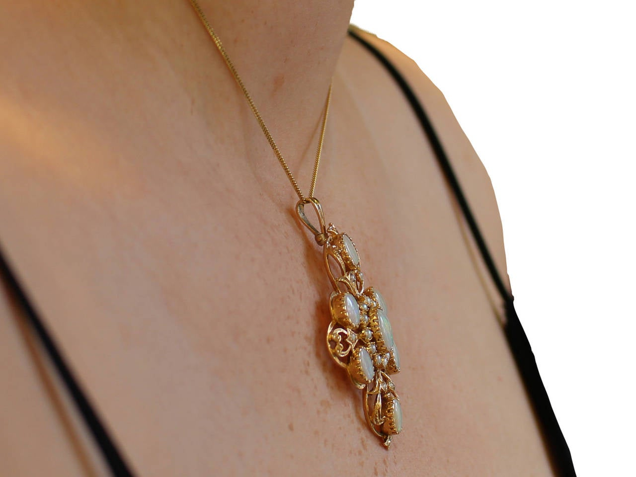 Opal and Pearl 9k Yellow Gold Pendant