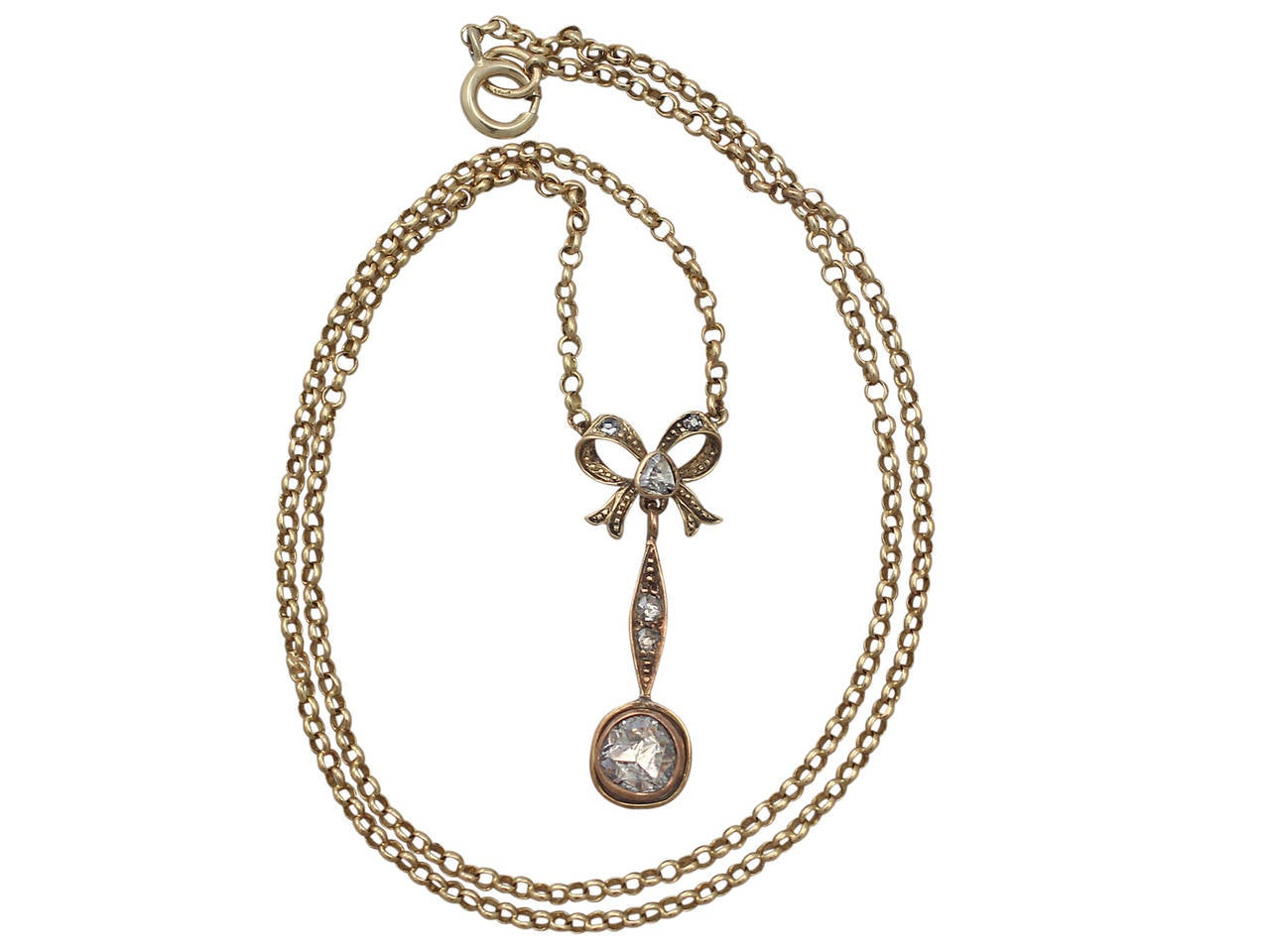 1.15Ct Diamond, 14k Yellow Gold Bow Pendant - Antique French Circa 1910 2