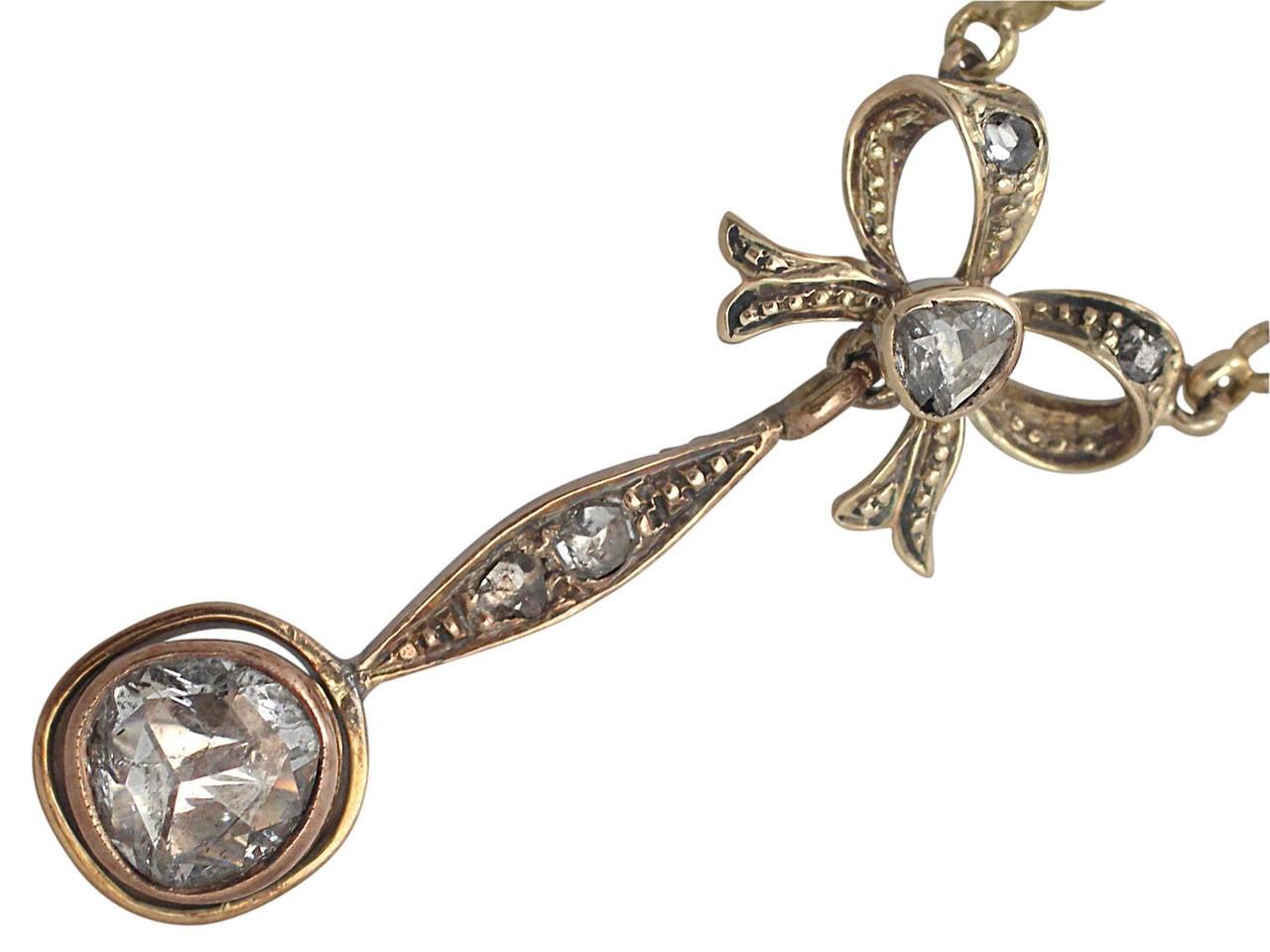 1.15Ct Diamond, 14k Yellow Gold Bow Pendant - Antique French Circa 1910 3