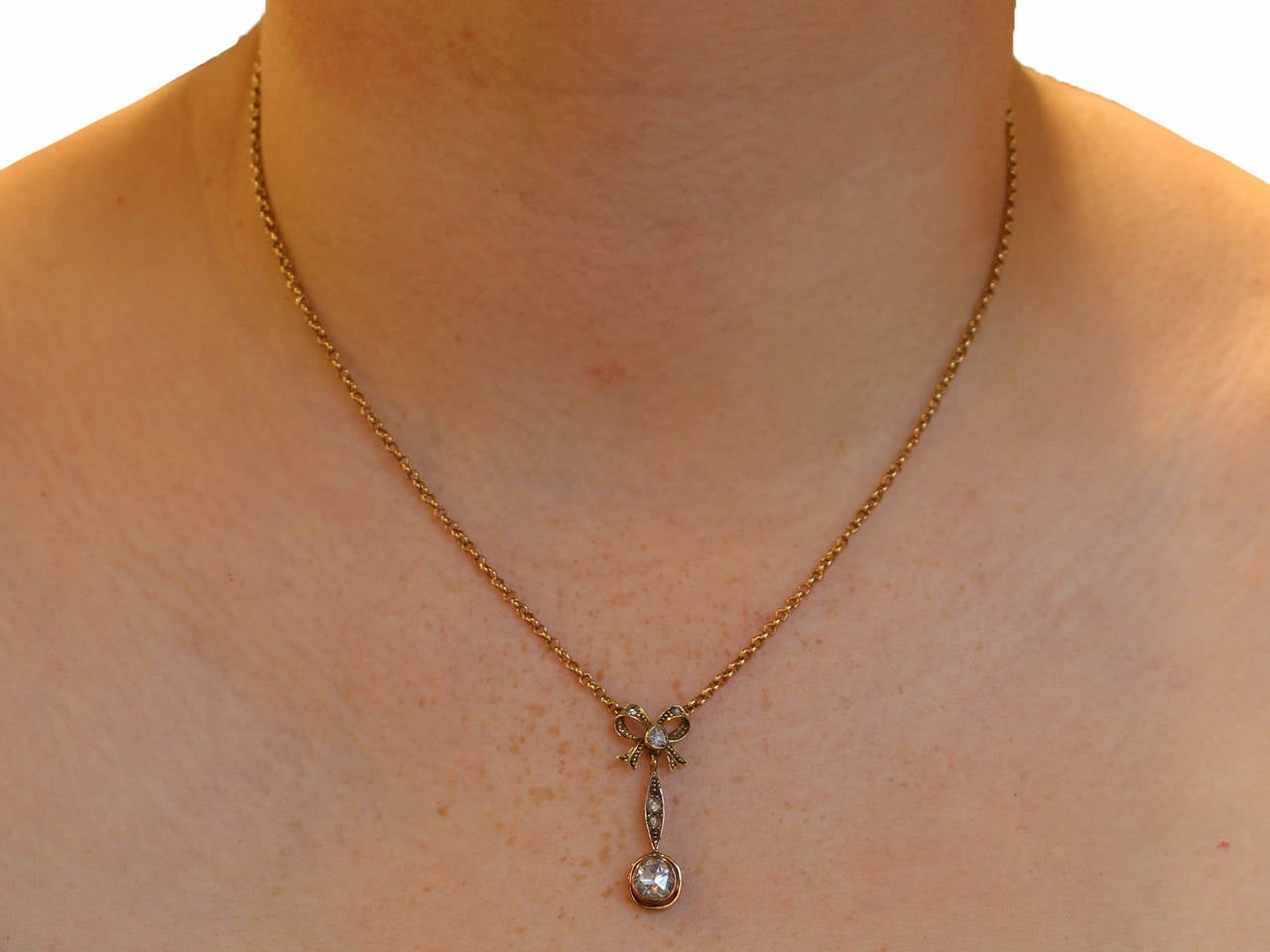 1.15Ct Diamond, 14k Yellow Gold Bow Pendant - Antique French Circa 1910 8