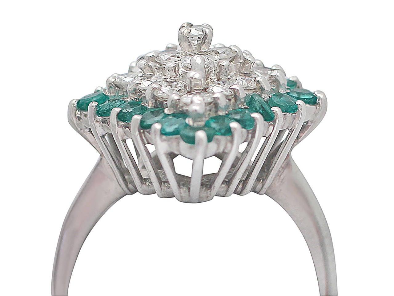 1975 Emerald & 1.36 Carat Diamond White Gold Cocktail Ring 2