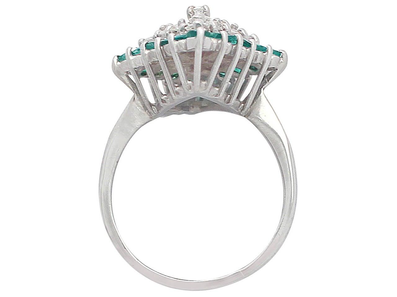 1975 Emerald & 1.36 Carat Diamond White Gold Cocktail Ring 5