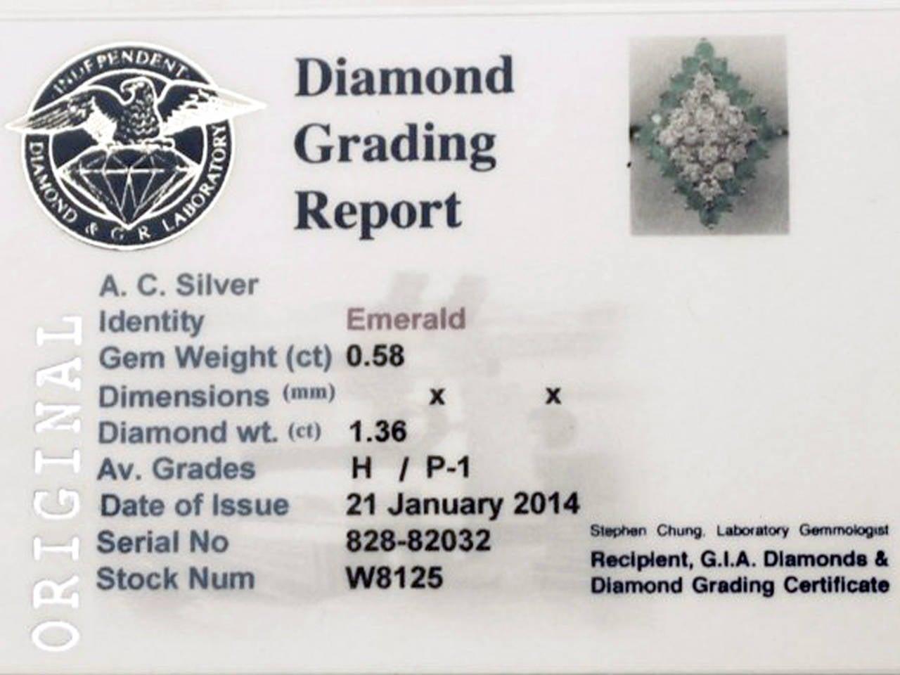 1975 Emerald & 1.36 Carat Diamond White Gold Cocktail Ring 6