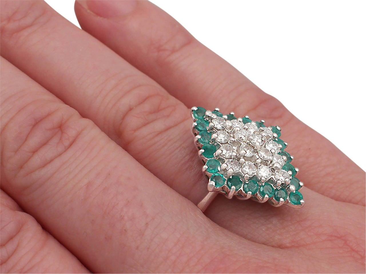 1975 Emerald & 1.36 Carat Diamond White Gold Cocktail Ring 8
