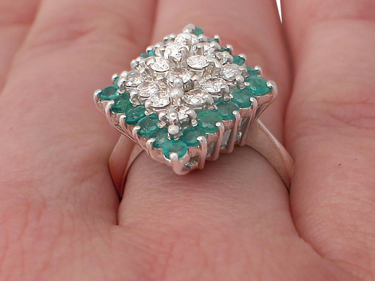 1975 Emerald & 1.36 Carat Diamond White Gold Cocktail Ring 9