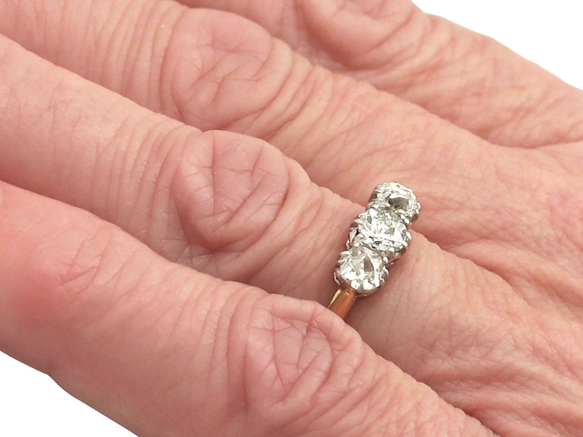 0.84Ct Diamond and 18k Yellow Gold Trilogy Ring - Antique Circa 1910 ...