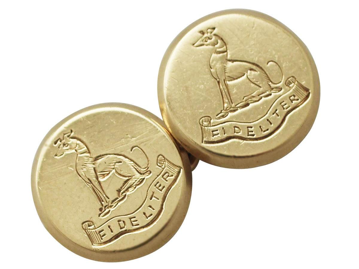 18 ct Yellow Gold Cufflinks - Antique 1914 at 1stdibs