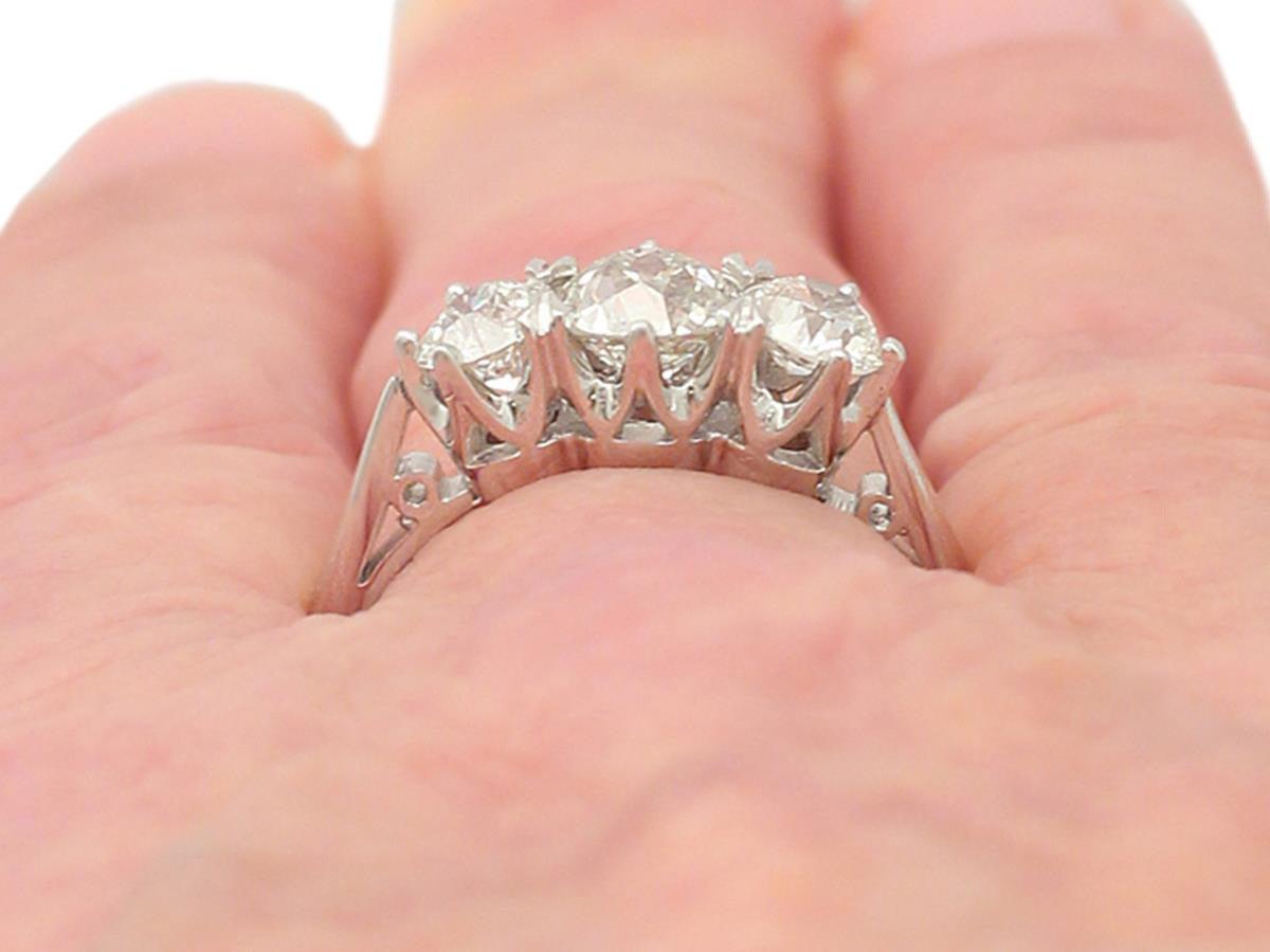 1.75Ct Diamond and Platinum Three Stone Ring - Antique and ...