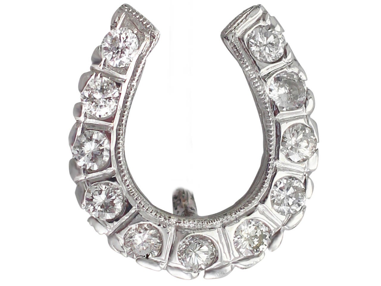 0.37Ct Diamond, 14k White Gold Horseshoe Pin Brooch - Vintage Circa 1940 7
