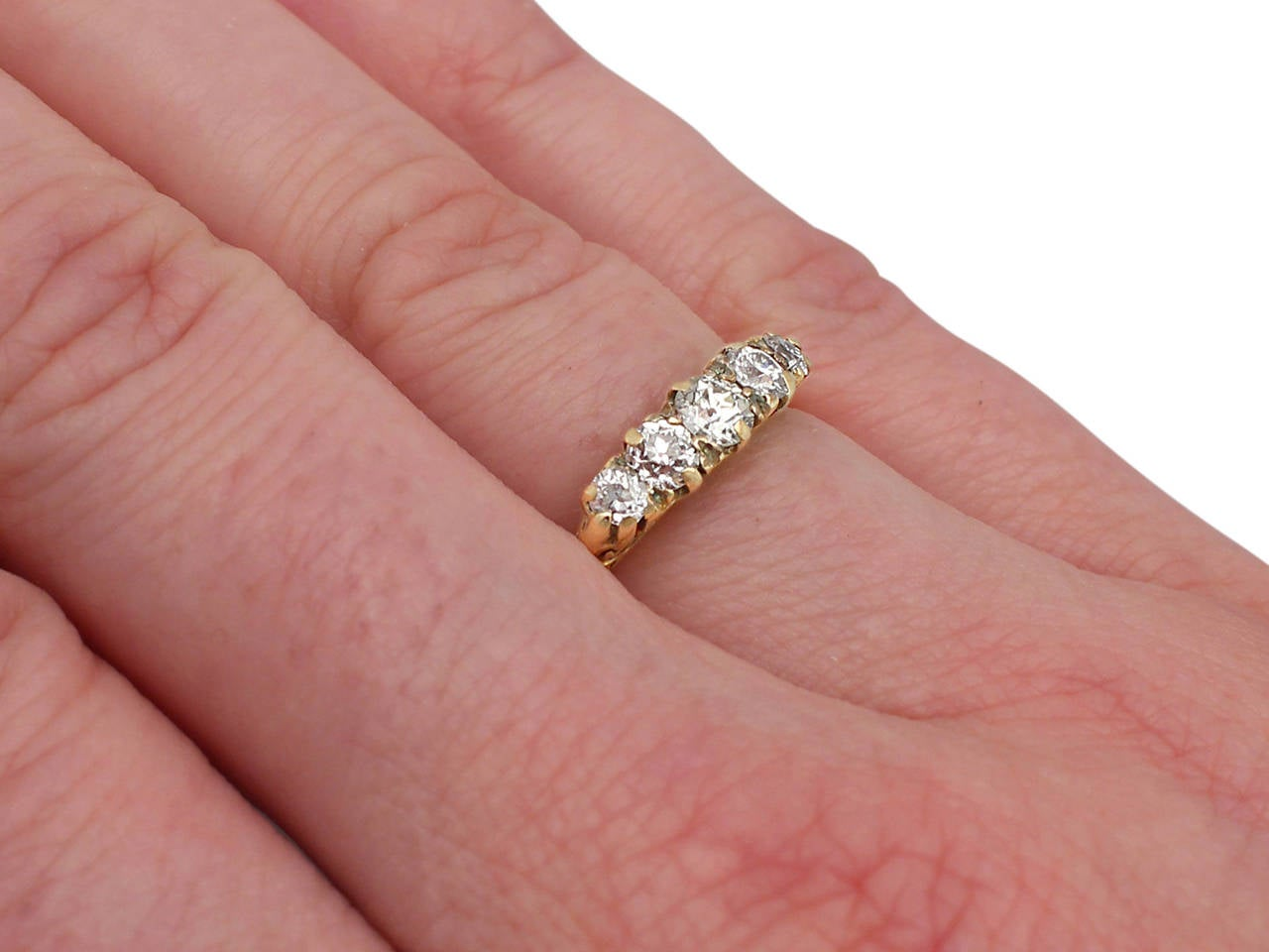 1.05 Carat Diamond and 18 Karat Yellow Gold, Five-Stone Ring ...