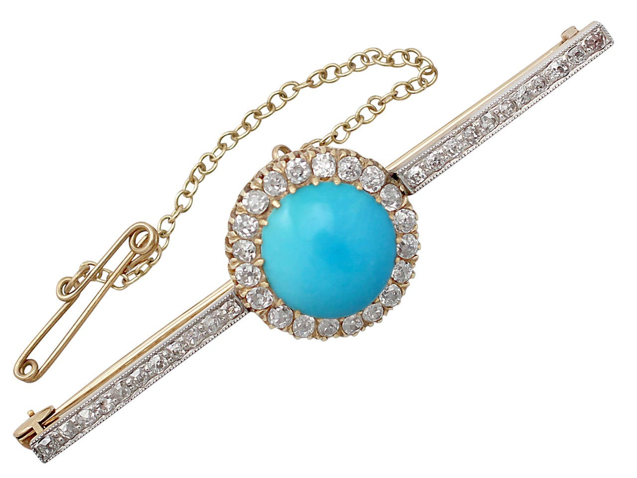 Turquoise And 1 56 Ct Diamond 15l Yellow Gold Bar Brooch