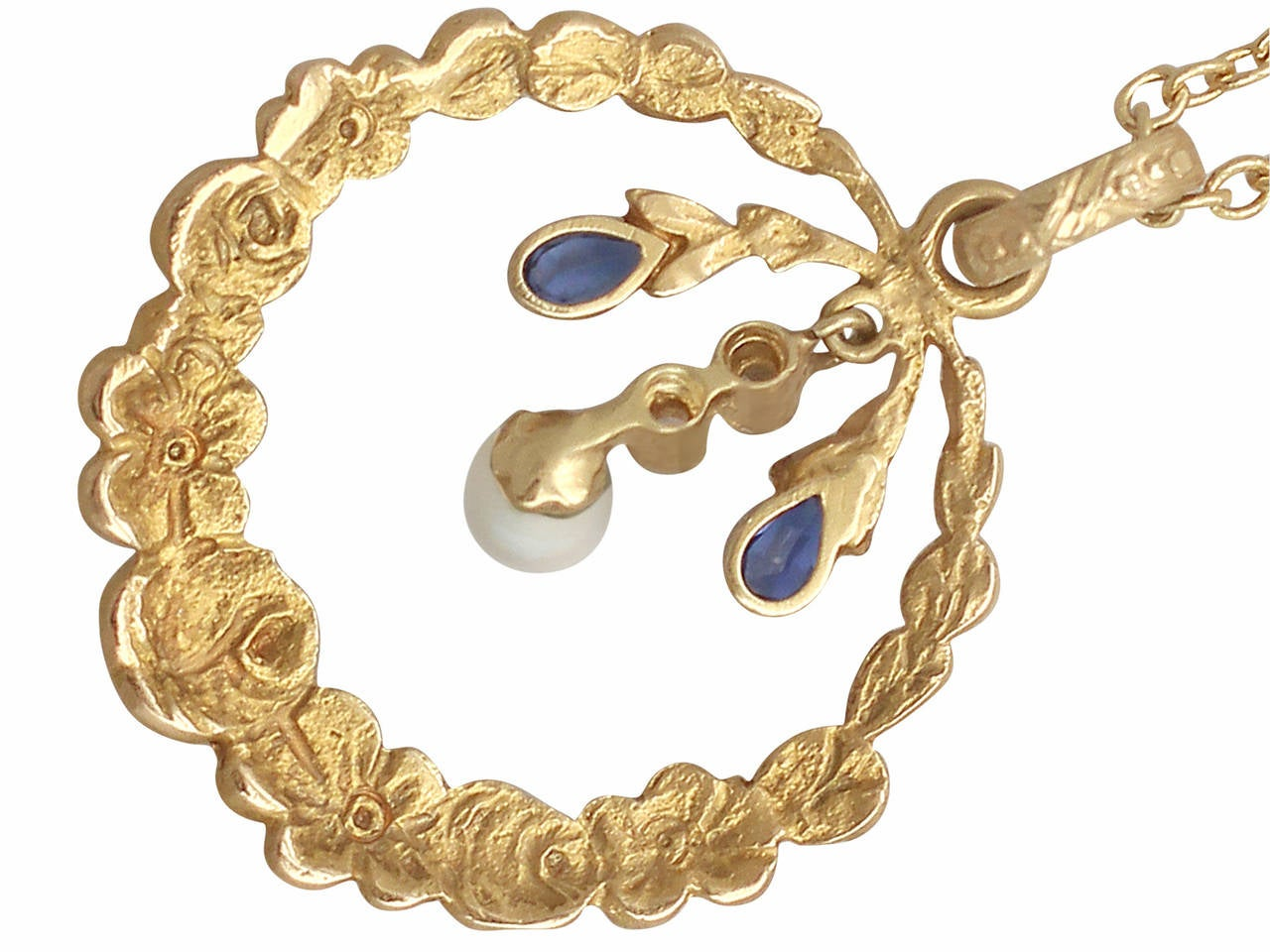 Pearl, 0.06Ct Sapphire and 0.04Ct Diamond, 14k Yellow Gold Pendant, Antique For Sale 1