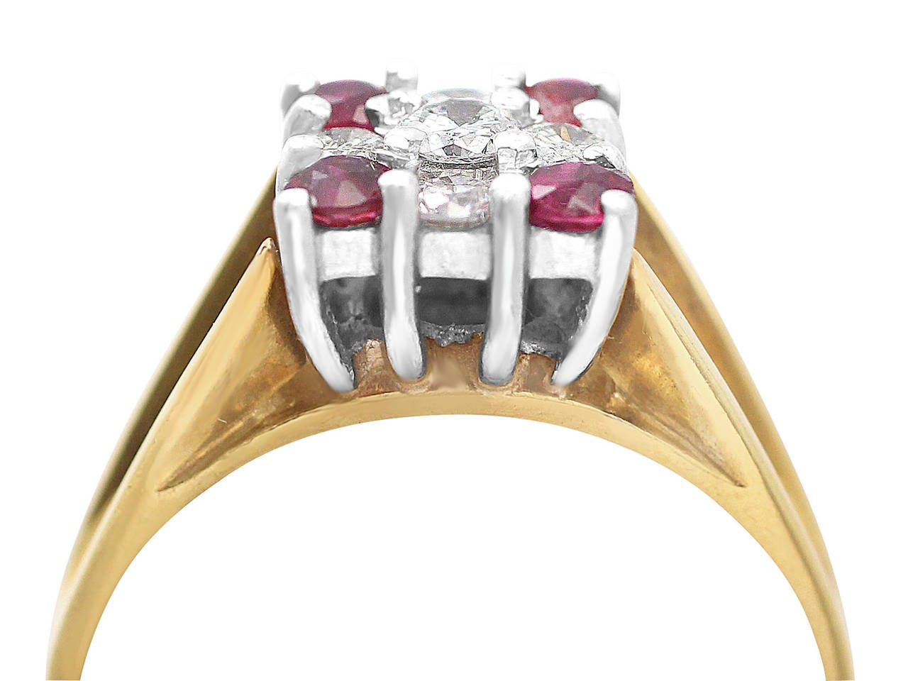 Ruby & Diamond Yellow Gold Cocktail Ring 2