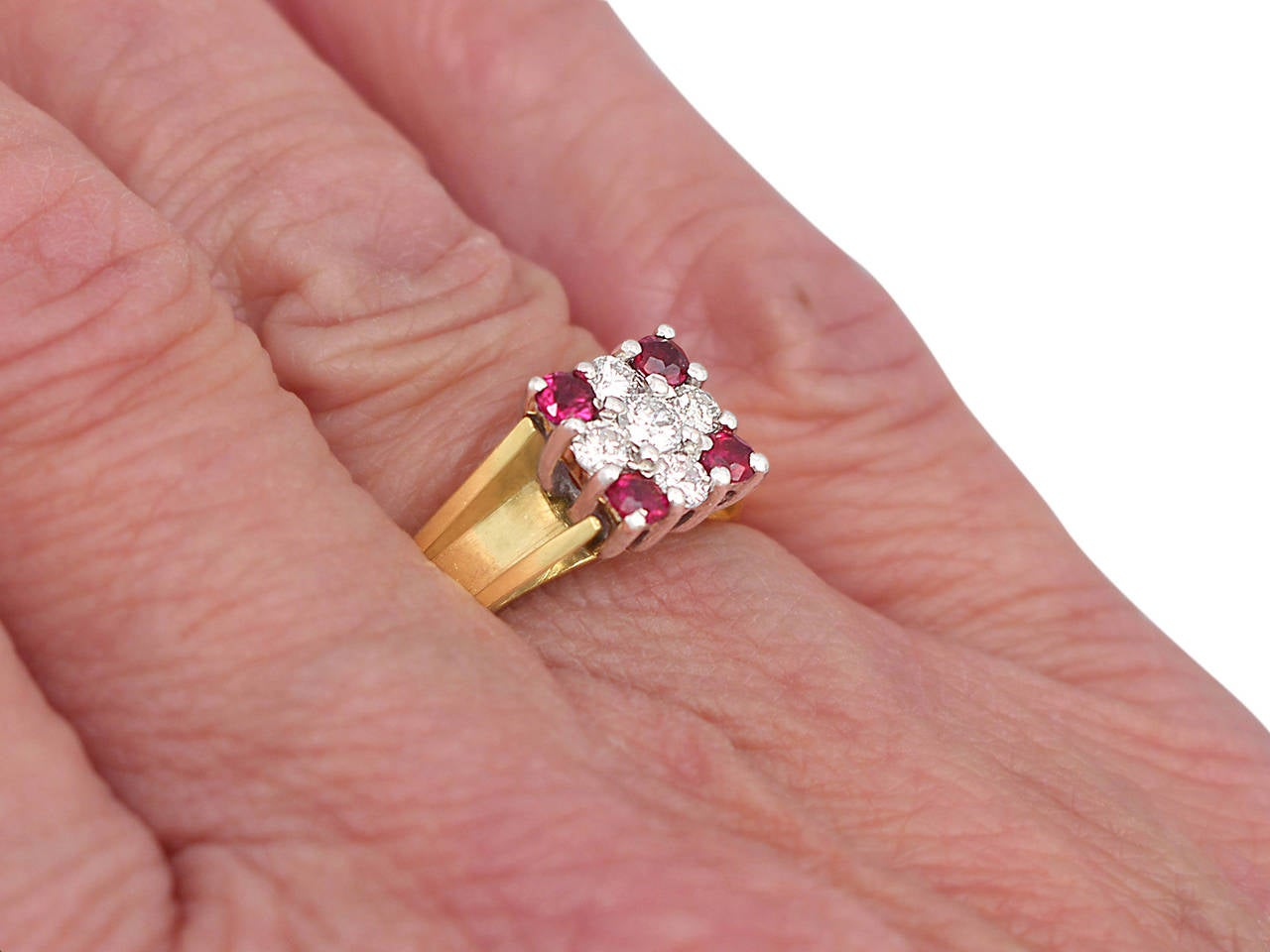 Ruby & Diamond Yellow Gold Cocktail Ring 8