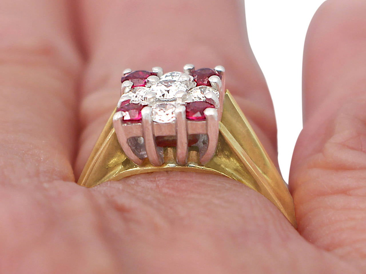Ruby & Diamond Yellow Gold Cocktail Ring 9
