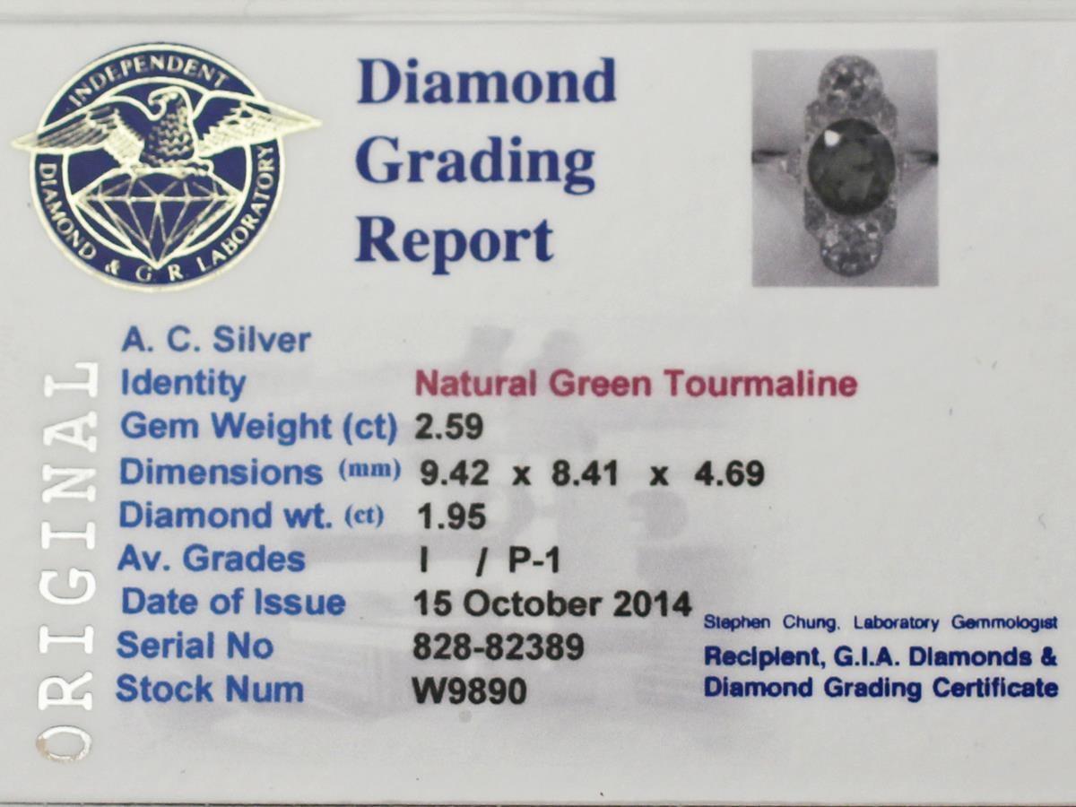 Antique 2.59 Carat Tourmaline and 1.95 Carat Diamond Gold Platinum Ring 7