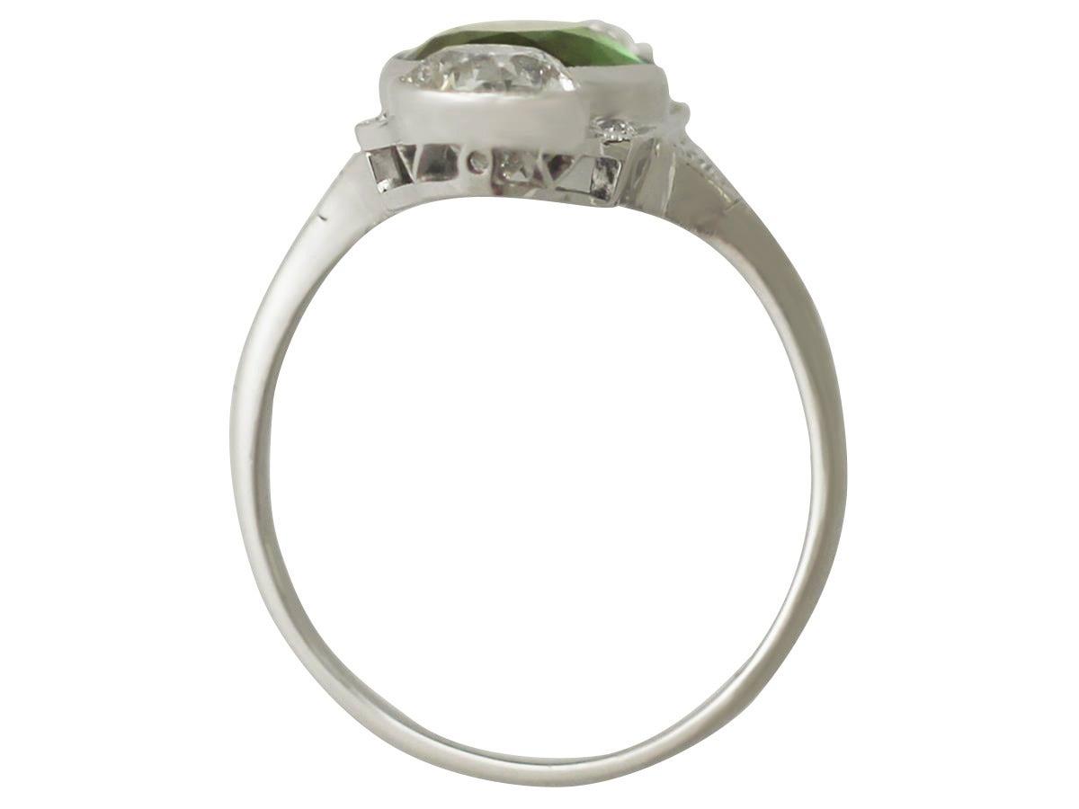 Antique 2.59 Carat Tourmaline and 1.95 Carat Diamond Gold Platinum Ring 5