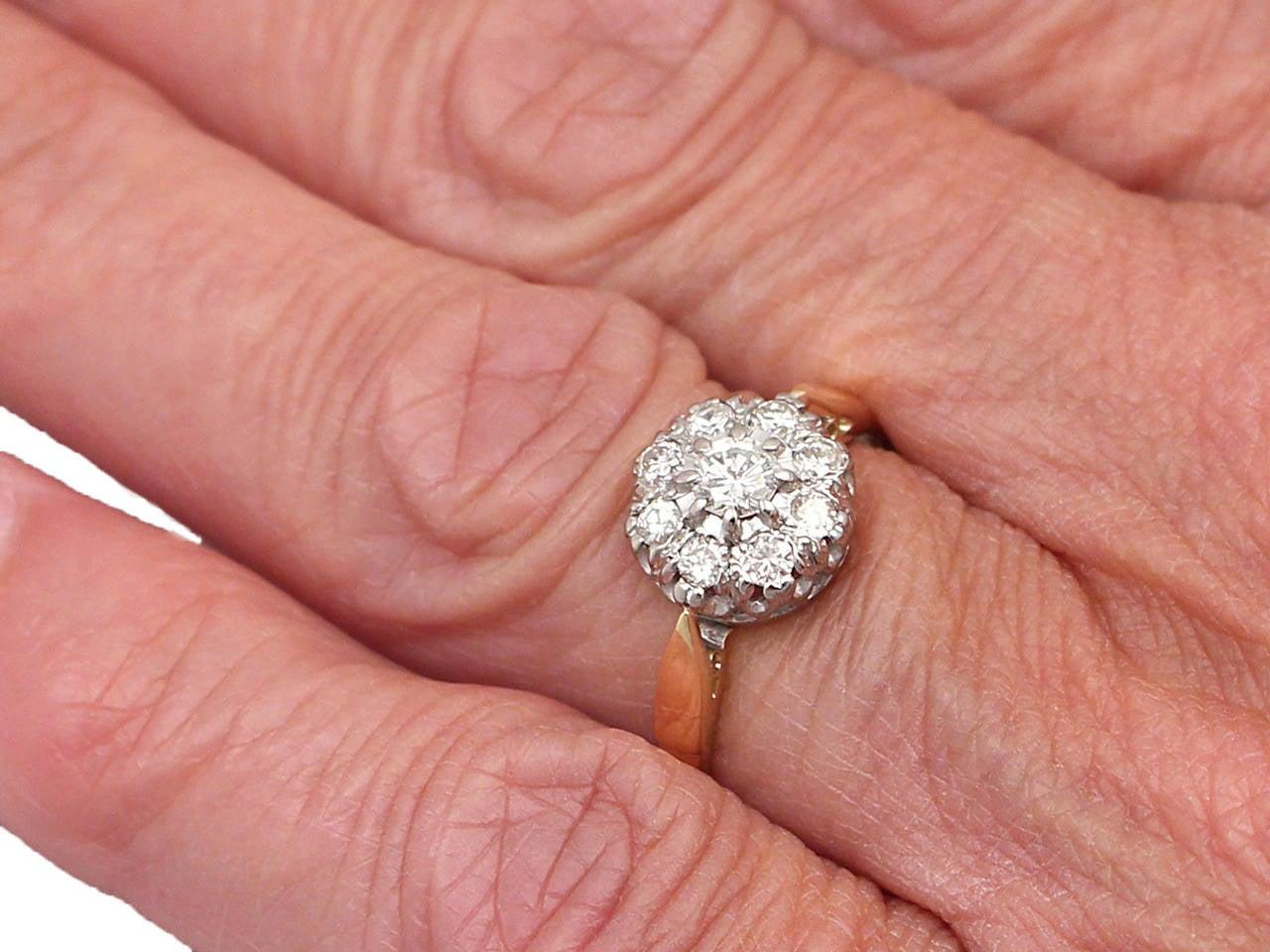 0.45 Carat Diamond, 18 Karat Gold, Platinum Set Cluster Ring ...