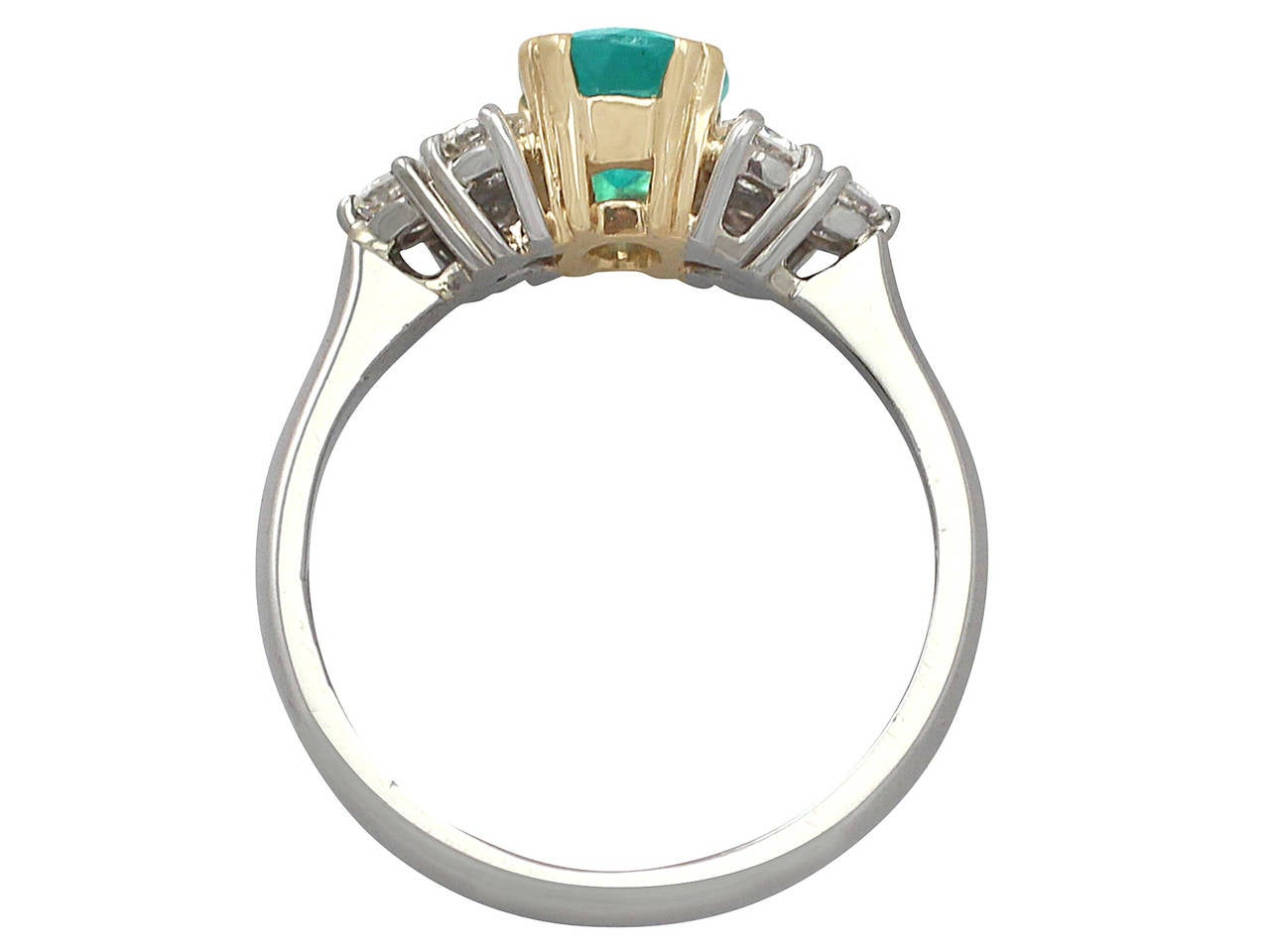 1990s 1.06 Carat Emerald and Diamond Platinum Cocktail Ring 5