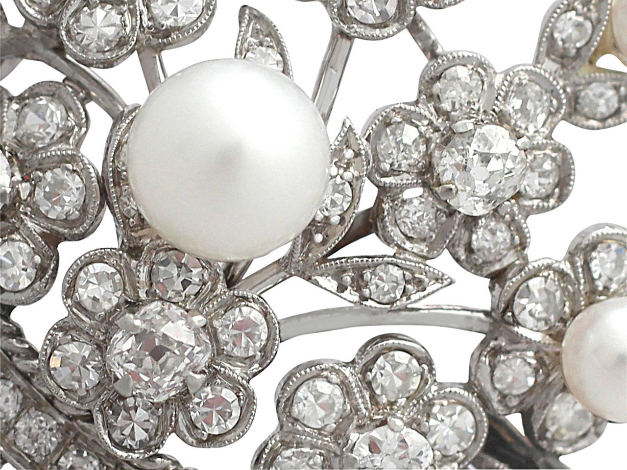 2.81Ct Diamond and Pearl, 14k White Gold Brooch - Antique Circa 1900 5