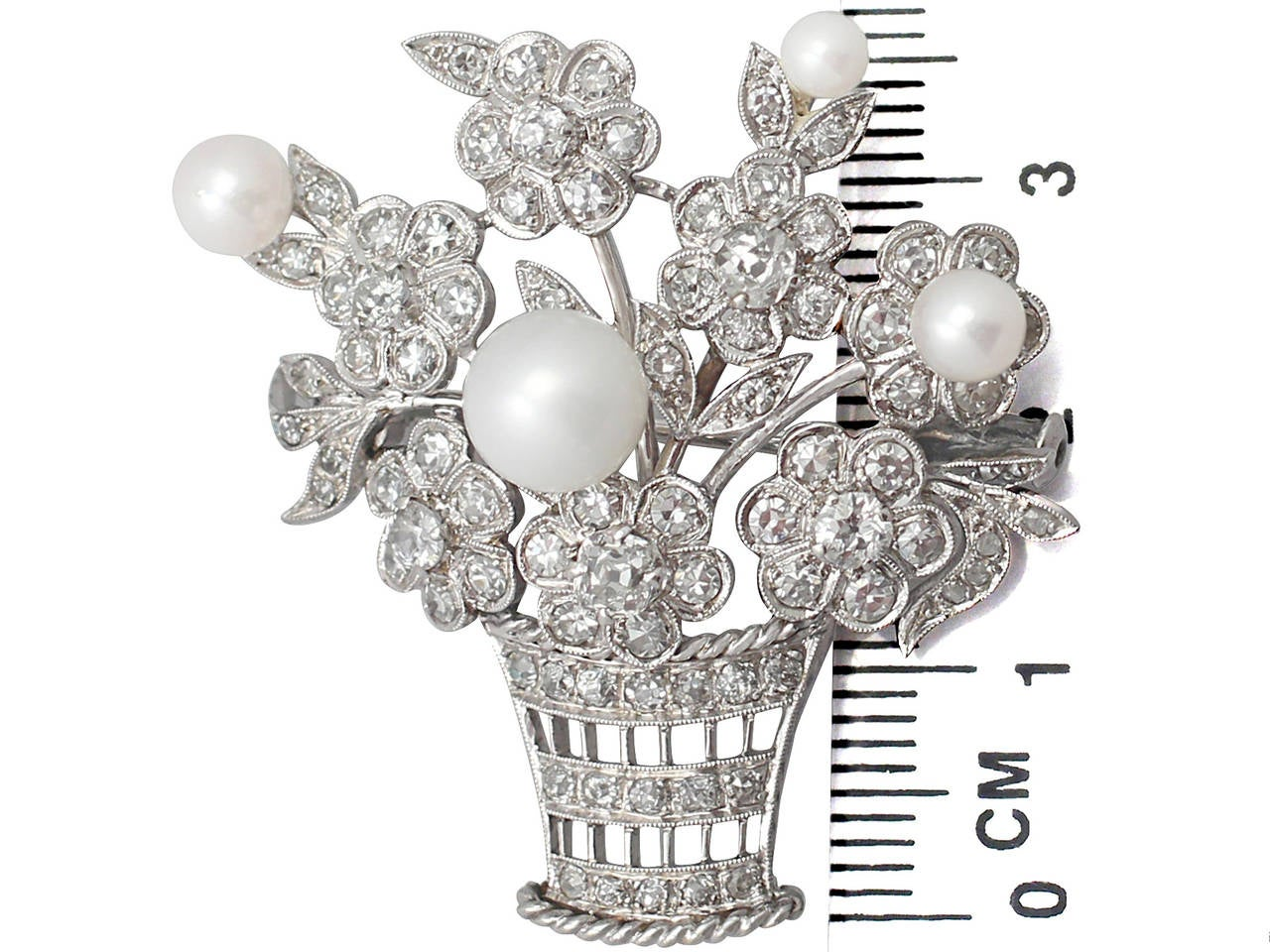 2.81Ct Diamond and Pearl, 14k White Gold Brooch - Antique Circa 1900 6