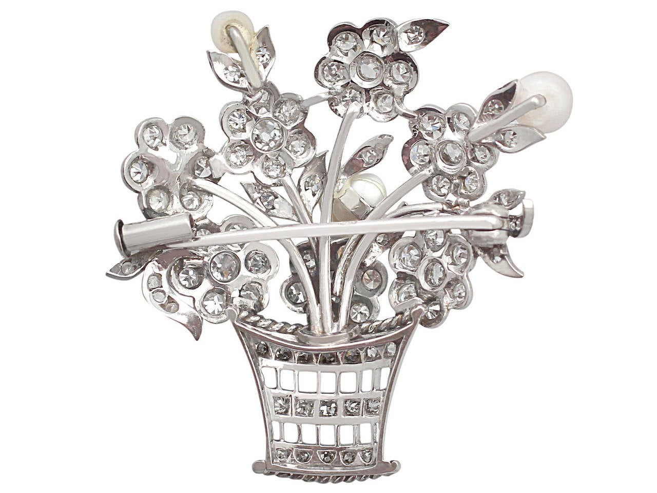 2.81Ct Diamond and Pearl, 14k White Gold Brooch - Antique Circa 1900 7