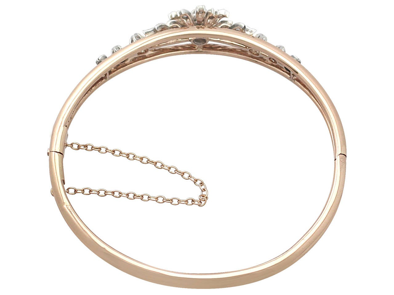 0.62Ct Diamond & 18k Rose Gold, Silver Set Bangle - Antique French Circa 1900 4